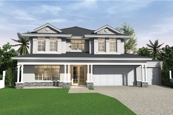 white two-storey house with big front yard